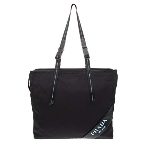 Prada Nylon Double Zipper Tote Bag Black with Light Blue Accents