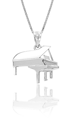 Honolulu Jewelry Company Sterling Silver Grand Piano Necklace Pendant with 18