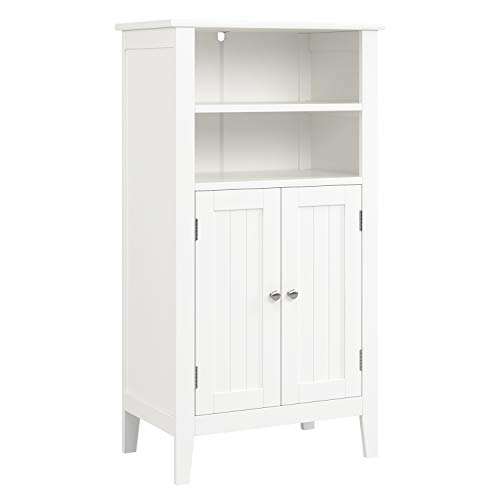 HOMFA Bathroom Floor Cabinet, Free Standing Side Cabinet Storage Organizer with Double Doors and Shelves for Homes and Gardens Office Furniture, White from Homfa