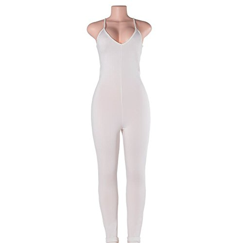 Yizenge Women Spaghetti Strap Bodycon Tank Jumpsuits Rompers Playsuit(White,XL)