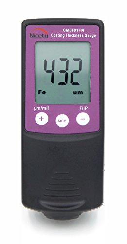CM8801F Digital Coating Thickness Gauge Paint Meter Tester 0-1250um/0-50mil for Laboratory, Powder Coating Companies, Manufacturing Companies,Paint Suppliers,Steel and Aluminum Refinishing, Automobile Dealers, Auto Auctions,Auto Detailers by Nicety (Image #1)