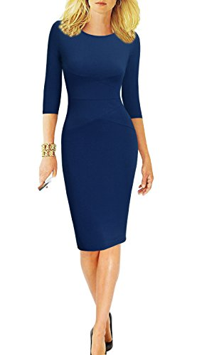 REPHYLLIS Women 3/4 Sleeve Striped Wear to Work Business Cocktail Pencil Dress (Small, Darkblue)