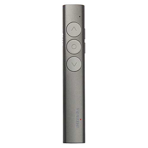 Wireless Presenter V9, 2.4GHz RF Up to 100 Ft Range Professional Presentation Remote Rechargeable, Universal Compatibility, Intuitive Touch-Keys for Slideshow Control with Red Laser Pointer (Grey)