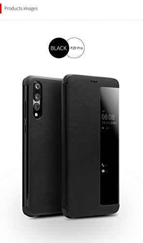 (Huawei P20 Pro Case, QIALINO Slim Flip Genuine Leather Smart Cover P20 Pro Phone Bumper (with Smart Window and Auto Screen Sleep/Wake) for Huawei P20 Pro, Black)