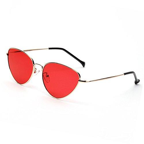 Soleil Oeil Mode Mode de Monture Lunettes Women Classique Femme Miroité Beams UV400 Vintage Fashion Wayfarer de forepin Metallique Rouge Twin Protection Chat Sunglasses EwFqfxY