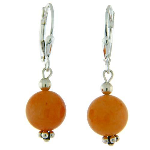 Sterling Silver 10mm Gemstone Bead Lever Back Bottom Dot Flower Earrings, Red Jade ()