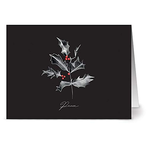 24 Note Cards - Peace Holly - Blank Cards - Red Envelopes Included