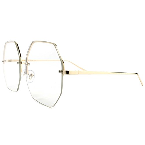 Semi Rimless Retro Style Fashionable Gold Frame Octagon Clear Lens Eye - Eyeglasses Octagon