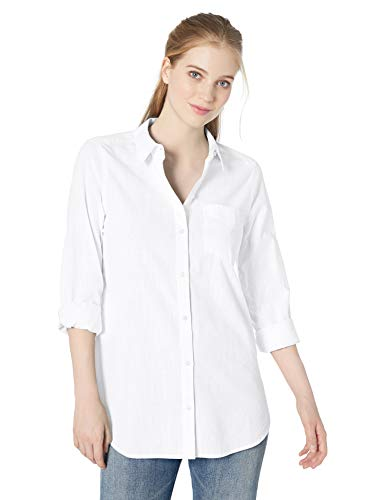 (Amazon Brand - Daily Ritual Women's Broken-in Cotton Button-Front Tunic Shirt, White,Large)
