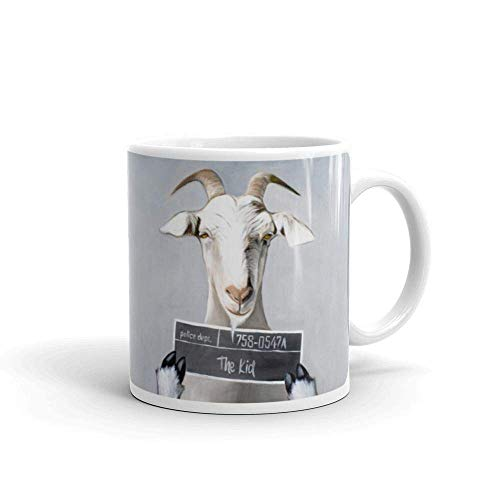 Billy the Kid Goat Painting Humor Funny Kitchen & Dining Drinkware Coffee Mug, Dishwasher Safe, 11 Oz