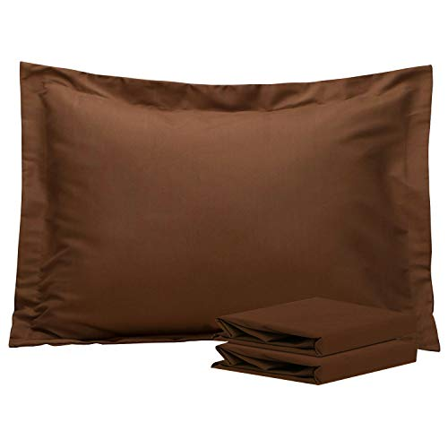 NTBAY Standard Pillow Shams, Set of 2, 100% Brushed Microfiber, Soft and Cozy, Wrinkle, Fade, Stain Resistant, Standard, Coffee