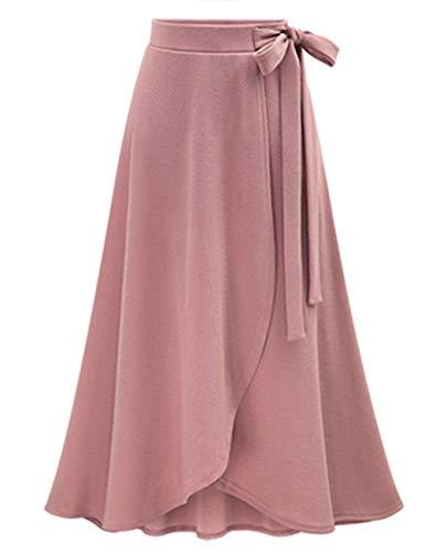 SEBOWEL Women's Solid High Waist Flowy A-line Flared Skater Slit Midi Maxi Skirt Pink 6XL -