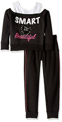 Limited Too Girls' Little Pearl Trim Cozy 2Fer Fleece Jog Set, Black, 5