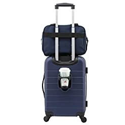 WMB Travel Pro 31gbUXjT9fL._SS247_ Wrangler El Dorado Lugggage Set with Cup Holder and USB Port, Navy Blue, 2 Piece