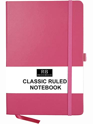 - RICCO BELLO A5 Classic College Ruled Banded Notebook, Pen Loop, 192 pages, 5.7 x 8.4 in. (Pink)