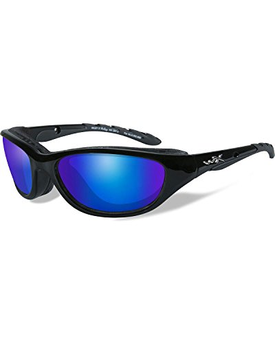 Wiley X Men's Air Rage Polarized Blue Mirror Gloss Sunglasses Black One - Air Sunglasses