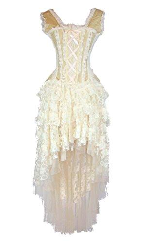 Burleska Womens Ophelie Steampunk Corset Dress (34-3X, Cream)