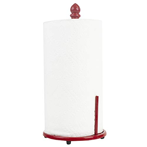 (Home Basics Chevron Cast Iron Free-Standing Paper Towel Holder with Dispensing Side Bar for Kitchen Countertop & Dinning Table Room, Red)