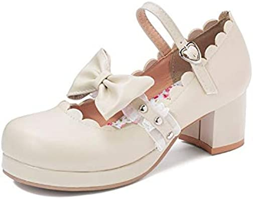 Womens Buckle Bowknot Mary Jane Lolita  Block High Heel Shoes Party All us size