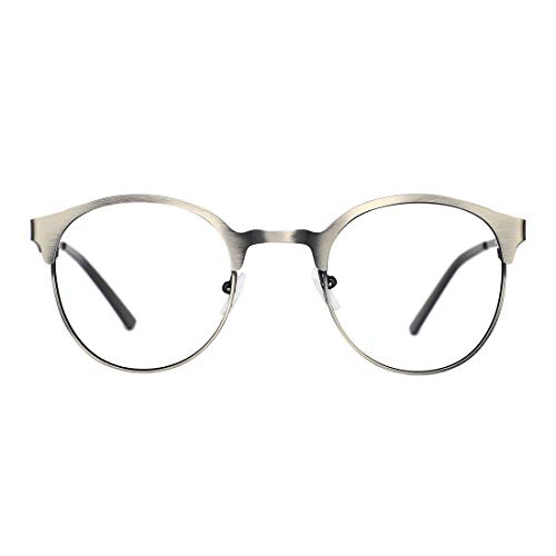 TIJN New Round Designer Metal Eyeglasses Frames with Clear Lens (retro silver, ()