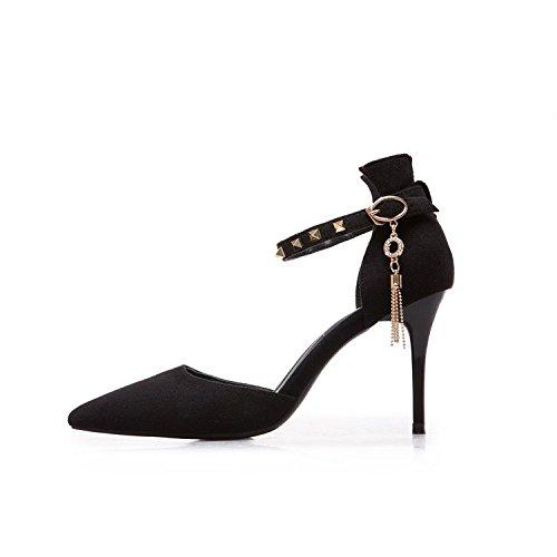 fine sandali con punta della flusso testata Bene i opaca nero alti cava 36 di con a il tacchi rivetti ww46I08q