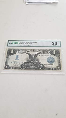 - 1899 $1 BLACK EAGLE STAR SILVER CERTIFICATE- CERTIFIED PMG VF20-RARE SPANISH AMERICAN WAR REPLACEMENT NOTE-VERN'S CARD & COIN $1 VF20 PMG