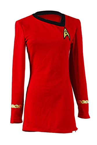 Women's Captain Officer Duty Dress Halloween Cosplay Costume Red Uniform - coolthings.us