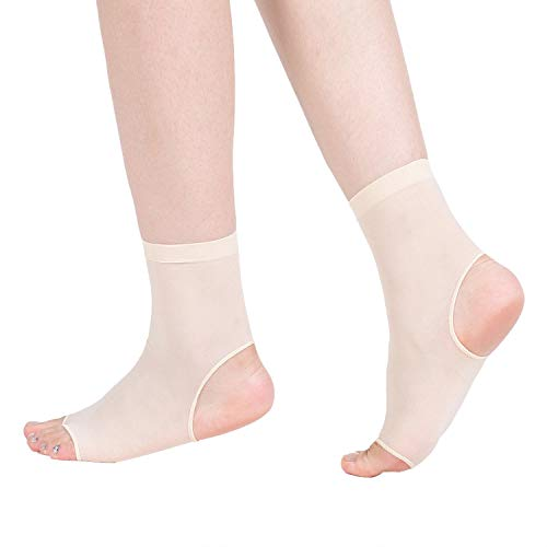 No Heel / No Toe Thong Sock - Open Toe and Open Heel Socks for Peep Toe Shoes, High Heels, Sandals, etc. - Hosiery Material, Ankle Socks, One Size(4 Pairs, Off-White)