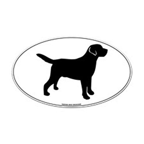 Lab Sticker Black (CafePress Black Lab Outline Sticker (Oval) Oval Bumper Sticker, Euro Oval Car Decal)