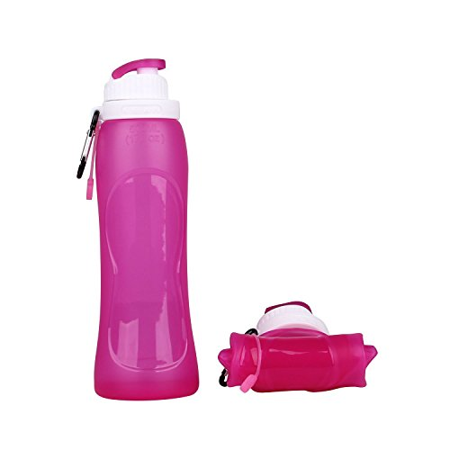 Collapsible Silicone Water Bottle FDA-approved BPA Free Leak-Proof Lightweight Foldable Roll Up for Outdoors, Hiking, Camping, Biking,Sports and Traveling,20.5 Ounces 600ml (500-RG)