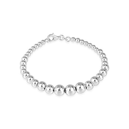(Designs by Helen Andrews Sterling Silver Graduated Bead Bracelet 7.5