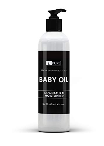 Natural Baby Oil, 16 fl oz, Gentle, Undiluted Mineral Oil, Fragrance Free, Paraben Free, No Filler, Food & USP Pharmaceutical Grade, Hypoallergenic, Naturally Sourced, Recyclable BPA-Free Bottle