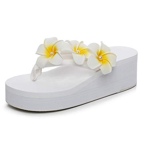 Women's Flip Flops Bohemian Wedges Thongs Plumeria Flowers Slip On EVA Sole Platform Beach Casual Shoes White