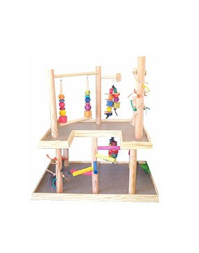 BirdsComfort Parrot Wooden Play Gym, Bird Activity Center, Wood Table Top Playground for Small Pionus, Amazons, African Greys, Eclectus, - Base: 31'' x 22' , Overall Height: 30'' - 2 levels by Bird Gyms