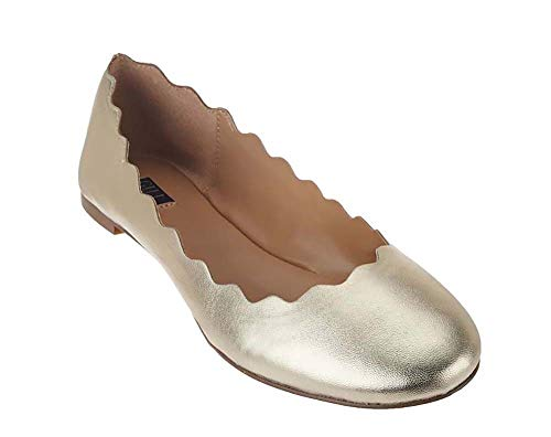G.I.L.I. Women's Izzy Scalloped Leather Ballet Flats-Gold-11 from Gili