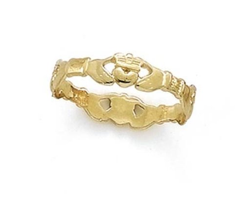 Yellow Gold Ladies Claddagh Ring (14k Yellow Gold Claddagh Thumb Ring - Size 9.0)