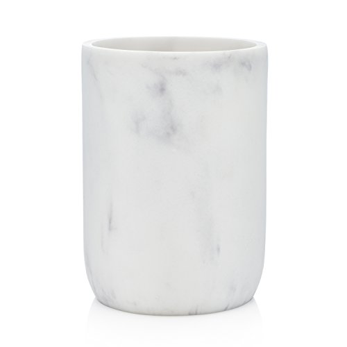 EssentraHome Blanc Collection White Bathroom Tumbler Cup for Vanity Countertops, Also Great As Pencil Pen Holder and Makeup Brush Holder ()