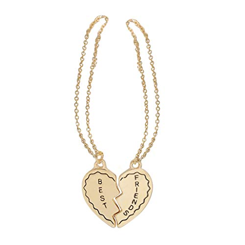 Nihewoo Necklaces for Women Heart Charm Necklaces 2 Piece Best Friends Pendant Necklace Friendship Set Gifts (Gold)