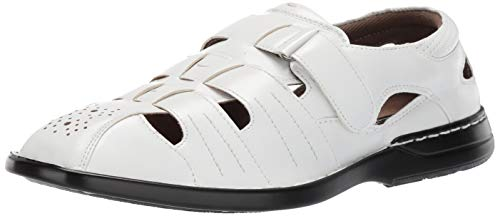 STACY ADAMS Men's Argosy Closed-Toe Fisherman Velcro Sandal, White, 13 M US