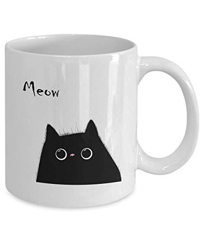 Meow Cat Lover Mug - Black Cat Coffee Cup Gift for Women and Girls