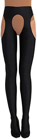 Freebily Damen Ouvert-Leggings Glanz Strumpfhose Open Crotch Pantyhose Lang Strümpfe Tights Hose Erotik Unterwäsche...