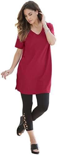 Roamans Women's Plus Size V-Neck Max Tunic