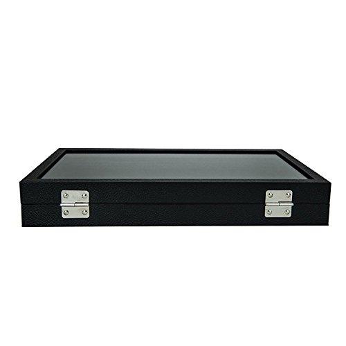 72 SLOT Ring Display Case Organizer Glass Top Jewelry Storage Box Tray Holder (Metallic Oak Cabinet)