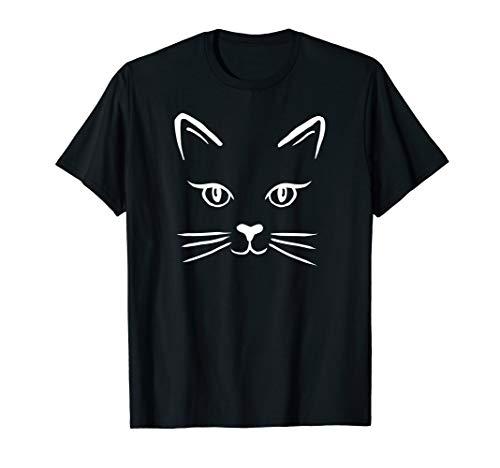 (Cute Cat Face White Vector Line Art Kitty Tshirt)
