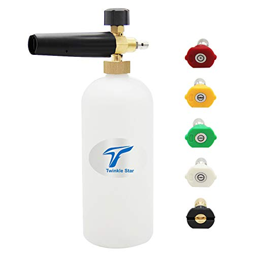 Twinkle Star Foam Cannon 1 L Bottle Snow Foam Lance with 1/4 Quick Connector, 5 Spray Nozzle Tips for Pressure Washer - Cannon Connector