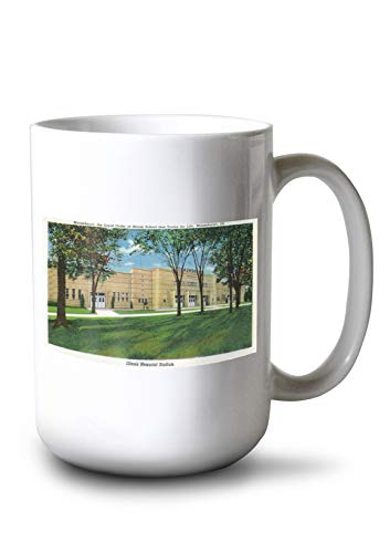 Lantern Press Mooseheart, Illinois - Exterior View of The Illinois Memorial Stadium (15oz White Ceramic Mug)