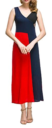 Sleeveless Big Red Cromoncent Casual Women's Color Summer V Contrast Neck Dresses Hem wqw4P5Srt