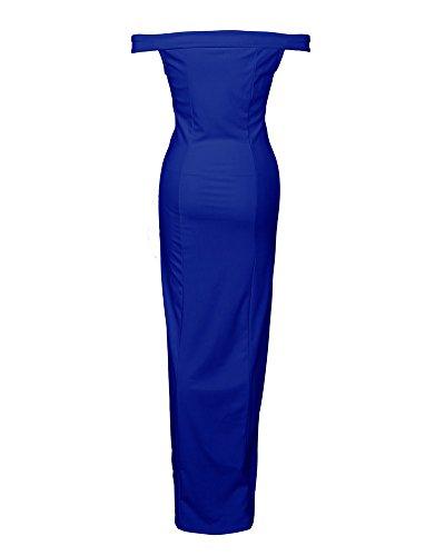 Noche Minetom Novia Mujer Sin Cintura De Largos V En Alta Maxi Mangas Fiesta Vestidos Cuello Tirantes Dress Elegante Cóctel Sin Azul Bodas Dulce gZfrAgp