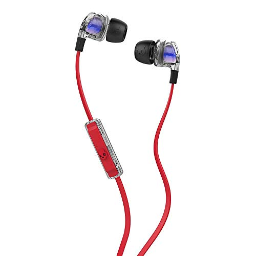 Skullcandy Smokin' Buds 2 Noise Isolating Earbuds with In-Line Microphone and Remote, Moisture Resistant, Oval-Shaped and Angled for Long-Term Comfort, Spaced Out/Clear
