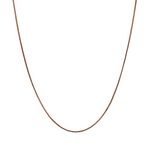 14K Thin Solid Rose Gold 0.5mm Box Chain Necklace - 16 - Charm Rose 14k Gold